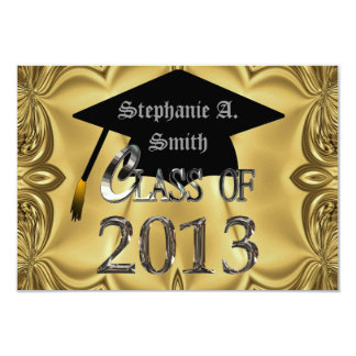 "Elegant Gold Graduation Party Invitations 3.5"" X 5"" Invitation Card"