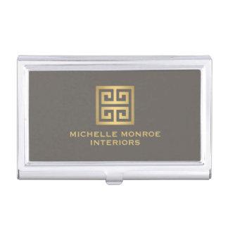 Elegant Gold Greek Key Interior Designer Taupe Business Card Holder