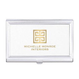 Elegant Gold Greek Key Interior Designer White Business Card Holder