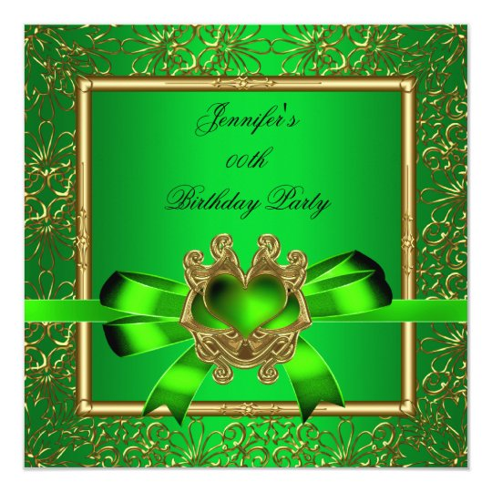 Elegant Gold Green Lime Jewel Birthday Party Card