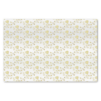 Elegant Gold Hearts Design Pattern Tissue Paper