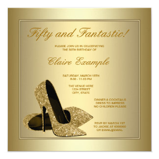 Elegant Gold High Heels Womans Gold 50th Birthday Card