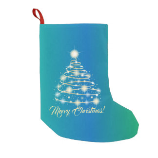 Elegant Gold Holiday Festive Merry Christmas Tree Small Christmas Stocking