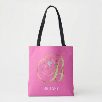 Elegant Gold HOT PINK Monogrammed Letter Initial B Tote Bag