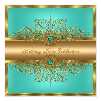Elegant Gold Jade Teal Pearls Birthday Party 13 Cm X 13 Cm Square Invitation Card