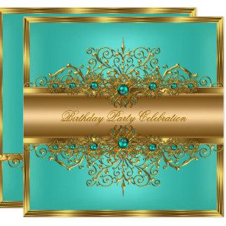 Elegant Gold Jade Teal Pearls Birthday Party Card