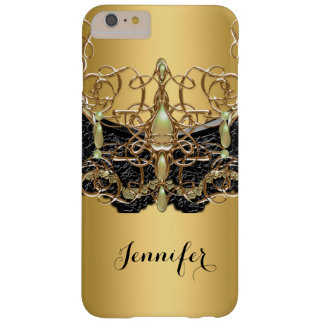 Elegant Gold Jewel Black Lace Barely There iPhone 6 Plus Case