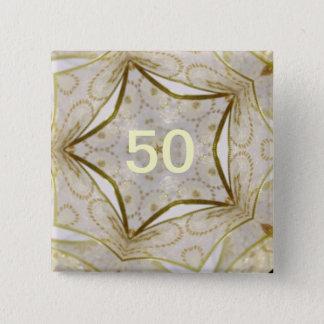 Elegant Gold Kaleidoscope Star 15 Cm Square Badge