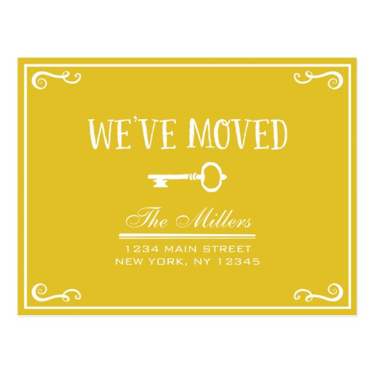 Elegant Gold Key Moving Announcement Postcard