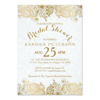 Elegant Gold Lace Bridal Shower Invitation