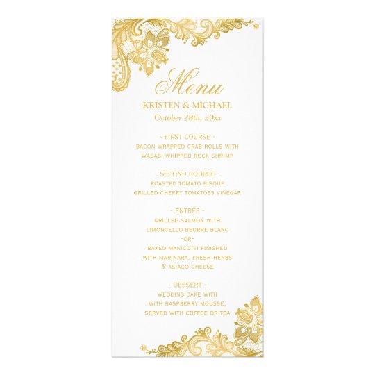 Elegant Gold Lace Pattern Wedding Menu