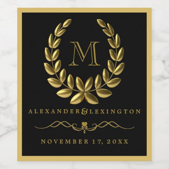 Elegant Gold Laurel Wreath and Monogram Wedding Wine