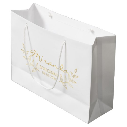 Elegant Gold Laurels Personalised Bridesmaids Large Gift Bag