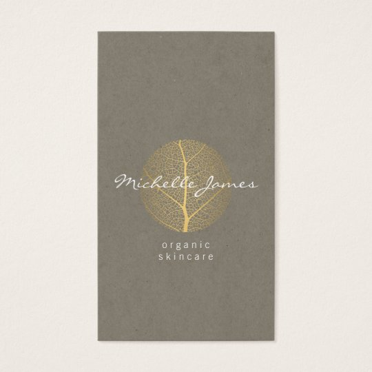 Elegant Gold Leaf Logo on Tan Cardboard Look
