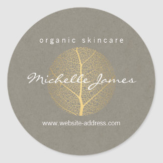 Elegant Gold Leaf Logo on Tan Cardboard Look Classic Round Sticker