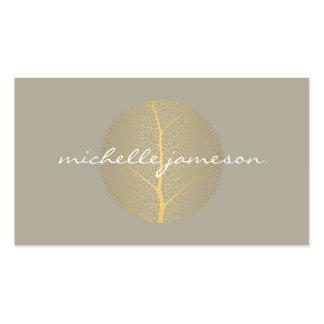 Elegant Gold Leaf Logo on Tan Pack Of Standard Business Cards