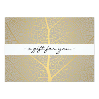 ELEGANT GOLD LEAF TREE PATTERN Gift Certificate 11 Cm X 16 Cm Invitation Card
