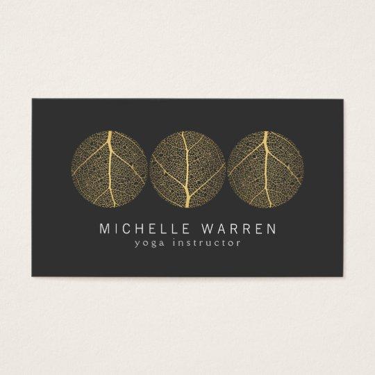 Elegant Gold Leaf Trio Logo on Dark Grey