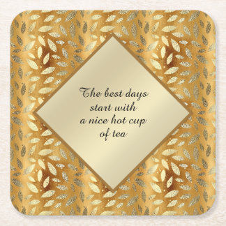 Elegant Gold Leaves Cup of Tea Square Paper Coaster