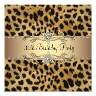Elegant Gold Leopard 30th Birthday Party Personalized Invitations