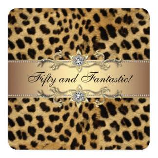 Elegant Gold Leopard Birthday Party Card