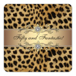 Elegant Gold Leopard Birthday Party 13 Cm X 13 Cm Square Invitation Card
