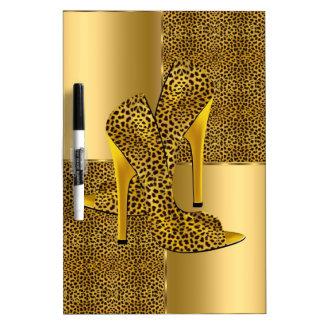 Elegant Gold Leopard High Heel Shoes Animal Dry Erase Board