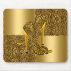 Elegant Gold Leopard High Heel Shoes Animal Mouse Mat