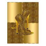 Elegant Gold Leopard High Heel Shoes Animal Postcard