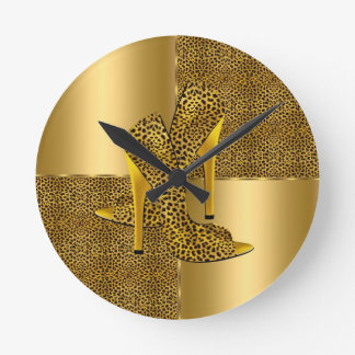 Elegant Gold Leopard High Heel Shoes Animal Round Clock