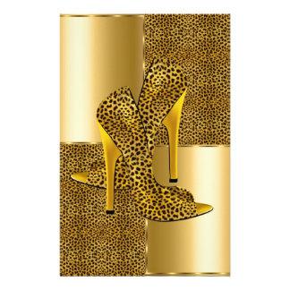 Elegant Gold Leopard High Heel Shoes Animal Stationery