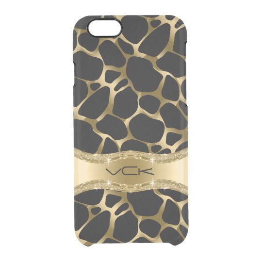 Elegant Gold Leopard Print On Black Clear iPhone