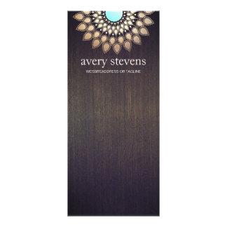 Elegant Gold Lotus Floral Motif Stylish Wood Custom Rack Cards