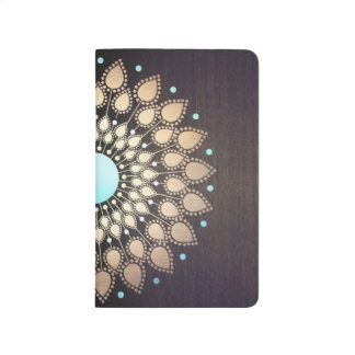 Elegant Gold Lotus Mandala Wood Journal