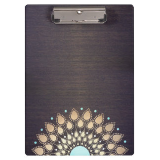 Elegant Gold Lotus Mandala Wood Yoga Instructor Clipboard