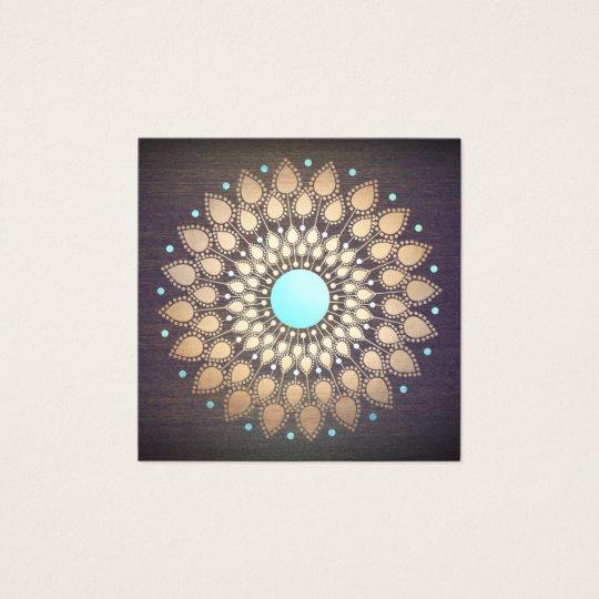 Elegant Gold Lotus Mandala Wood Yoga Instructor Square