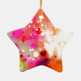 Elegant Gold Luxe Red Pink White Green Watercolor Ceramic Star Decoration