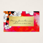 Elegant Gold Luxe Red Watercolor Brushstrokes Business Card
