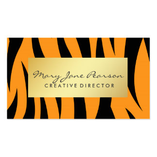 Elegant Gold Luxe Yellow and Black Tiger Stripes Pack Of Standard Business Cards