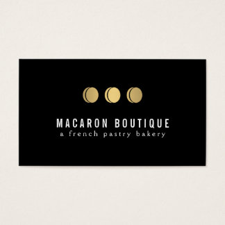 Elegant Gold Macaron Trio Logo on Black