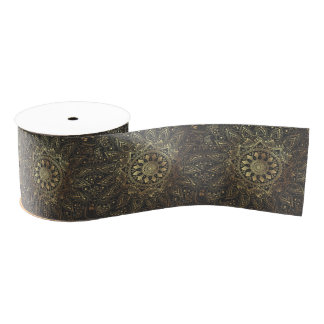 Elegant gold mandala artwork grosgrain ribbon