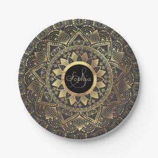 Elegant gold mandala artwork paper plate