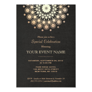 Elegant Gold Mandala Black Formal Invitation