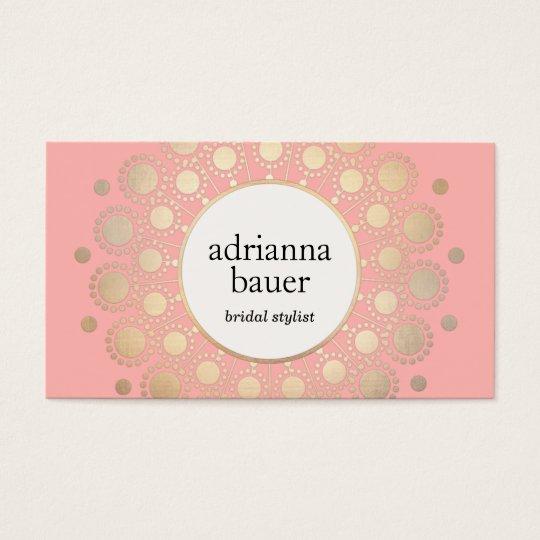 Elegant Gold Mandala Pink Beauty Salon Business Card