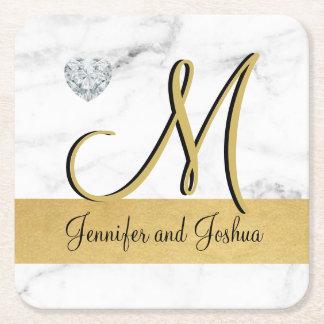 Elegant gold marble wedding gift favors - Monogram Square Paper Coaster
