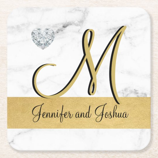 Elegant gold marble wedding gift favours - square