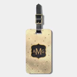 Elegant Gold Mermaid Scallops Monogrammed Initials Luggage Tag