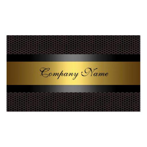 Elegant Gold Metal Black White Business Card