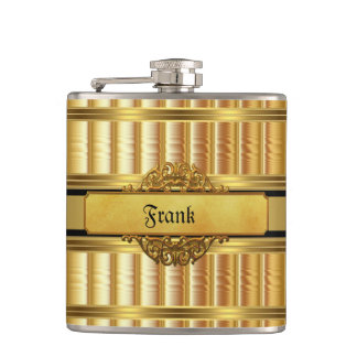Elegant Gold Metal look Monogram Name Hip Flask