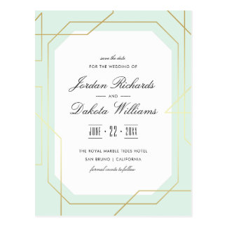 Elegant Gold & Mint Geometric Save The Date Postcard